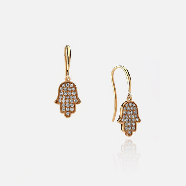 Hand of Fatima Earrings in yellow Gold with Diamonds - Al Zain Jewellery