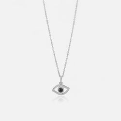 Evil Eye Necklace in White Gold with Black Diamond - Al Zain Jewellery