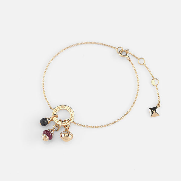 Ruby's Charms Valentine Bracelet in Yellow Gold with Ruby Stone, Diamonds and Black Spinel - Al Zain Jewellery