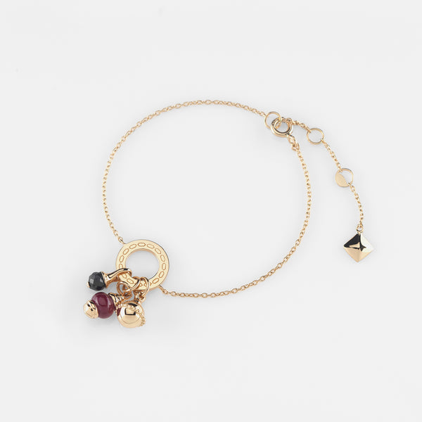 Ruby's Charms Valentine Bracelet in Yellow Gold with Ruby Stone and Black Spinel