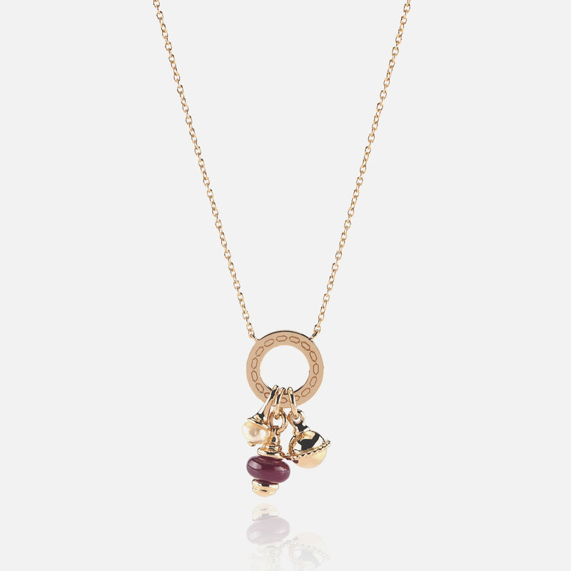 Ruby's Charms Valentine Necklace in Yellow Gold with Ruby Stone, Pearl and Black Spinel