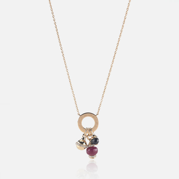 Ruby's Charms Valentine Necklace in Yellow Gold with Ruby Stone,Diamonds and Black Spinel