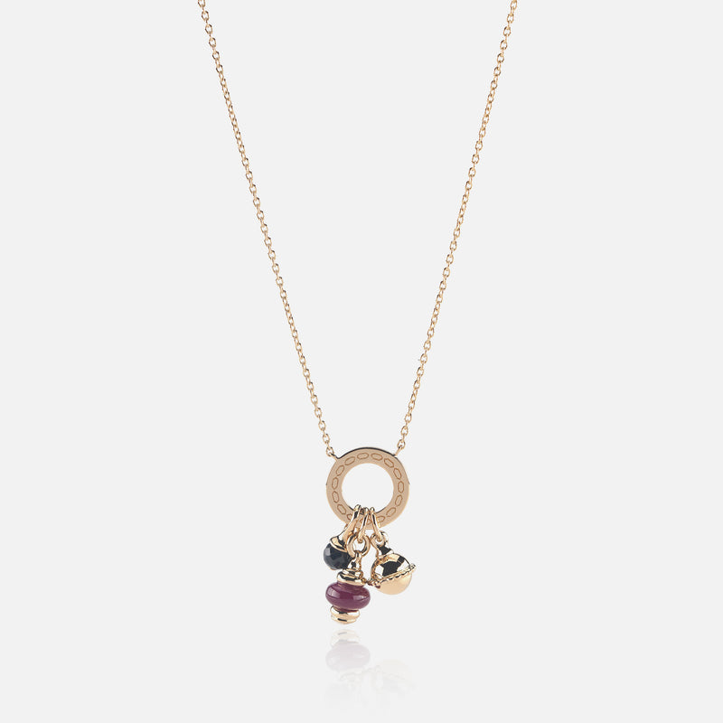 Ruby's Charms Valentine Necklace in Yellow Gold with Ruby Stone, and Black Spinel