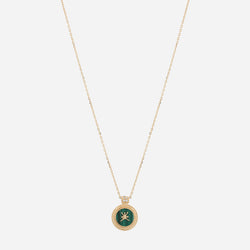 Oman Necklace in 18k yellow gold with Malachite Stone and Diamonds - Al Zain Jewellery