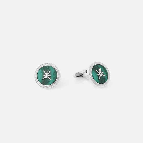 Oman Cufflinks for Men with Malachite Stone - Al Zain Jewellery