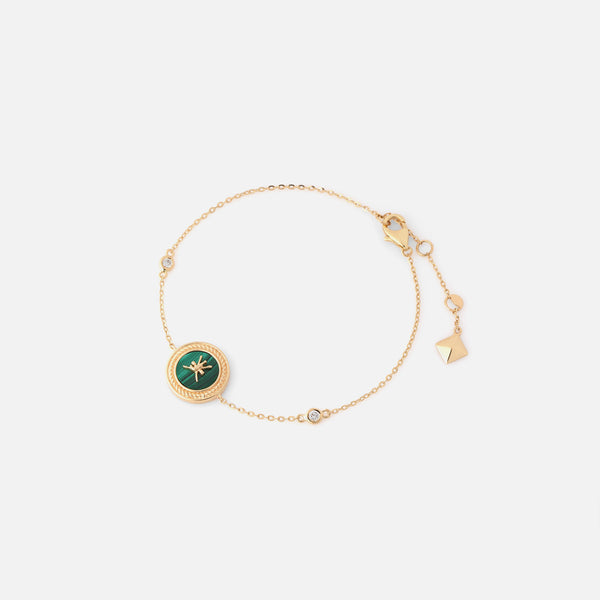 Oman Bracelet in 18k yellow gold with Malachite Stone and Diamonds - Al Zain Jewellery