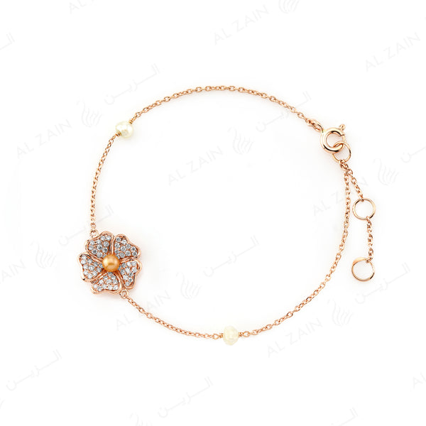 Natural Pearl Bracelet in Rose Gold with Diamonds - Al Zain Jewellery