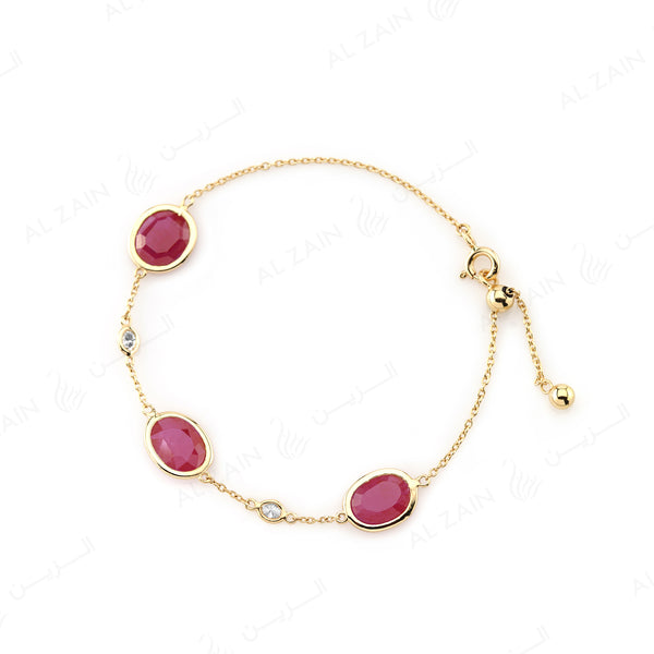 Nina Bracelet in Yellow Gold with Ruby Stone - Al Zain Jewellery