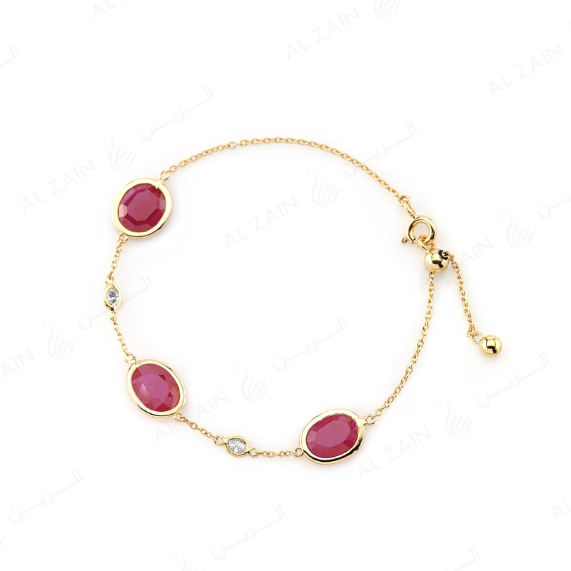 Nina Bracelet in Yellow Gold with Ruby Stone