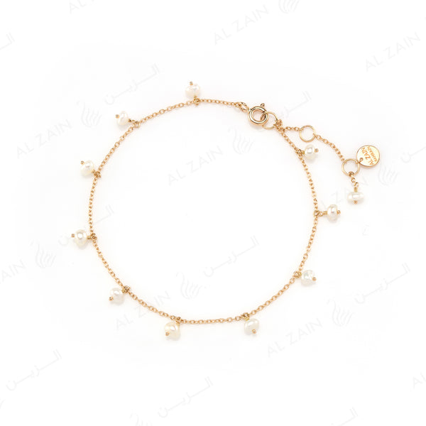 Natural Pearls Bracelet in Yellow Gold - Al Zain Jewellery