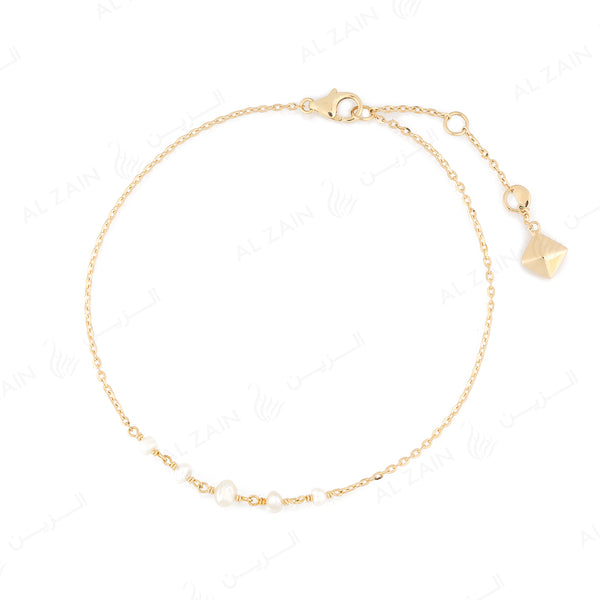 Natural Pearl Bracelet in Yellow Gold