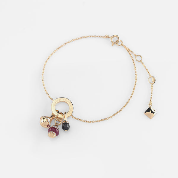 Ruby's Charms Valentine Bracelet in Yellow Gold with Ruby Stone, Diamonds and Black Spinel