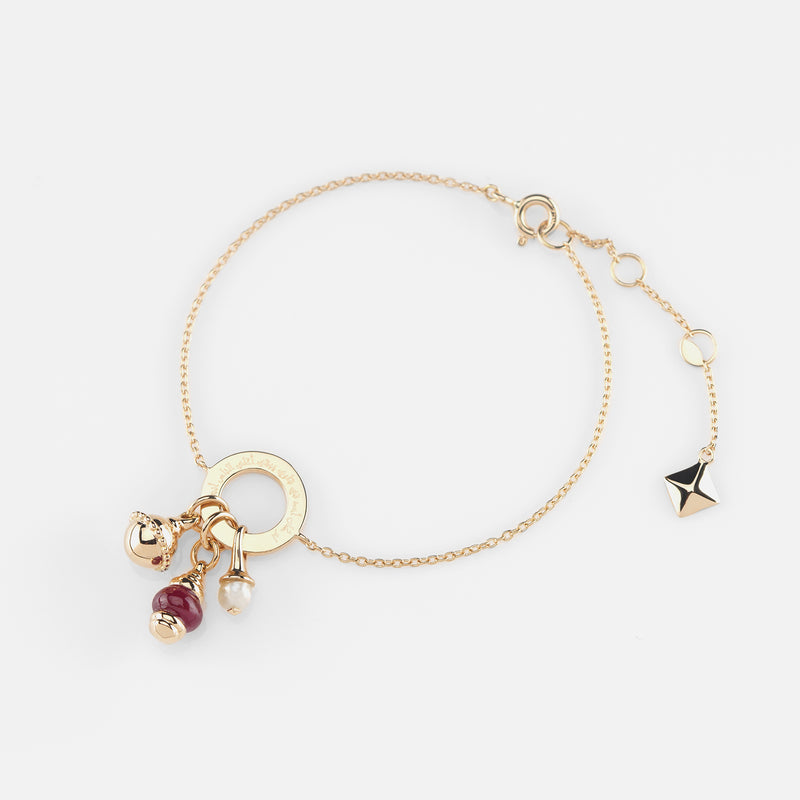 Ruby's Charms Valentine Bracelet in Yellow Gold with Ruby Stone, Pearl and Black Spinel