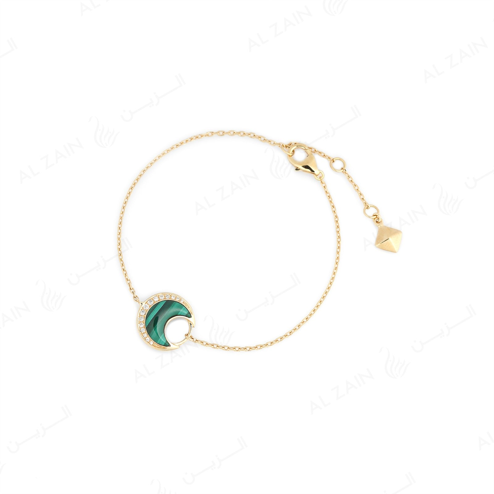 Al Hilal bracelet in yellow gold with malachite stone and diamonds - Al Zain Jewellery