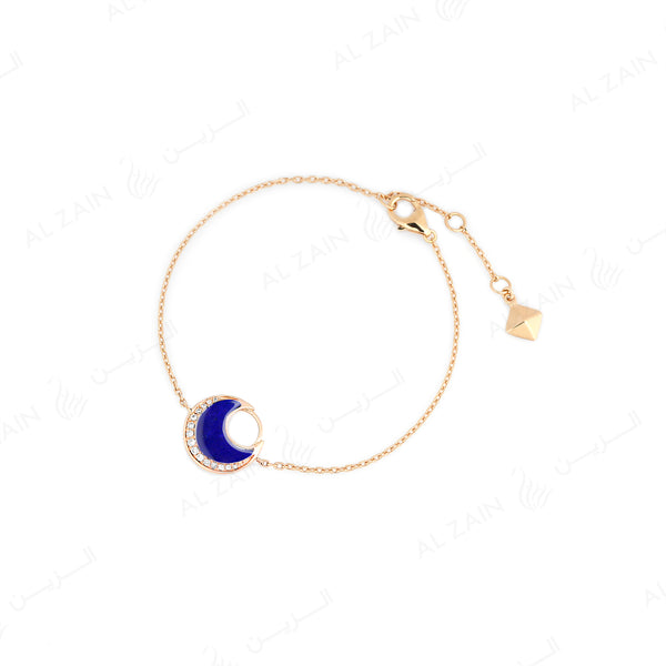 Al Hilal bracelet in yellow gold with lapis stone and diamonds - Al Zain Jewellery