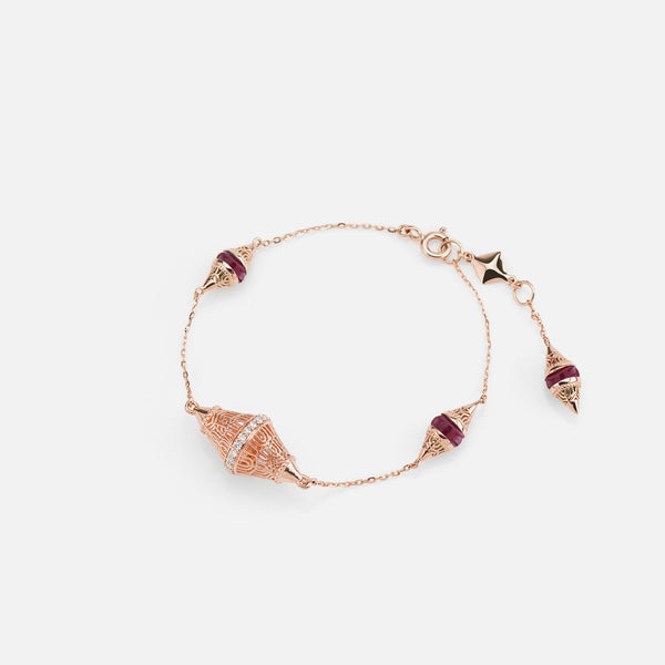 Al Merriyah mood colour bracelet in 18k rose gold with ruby and diamonds