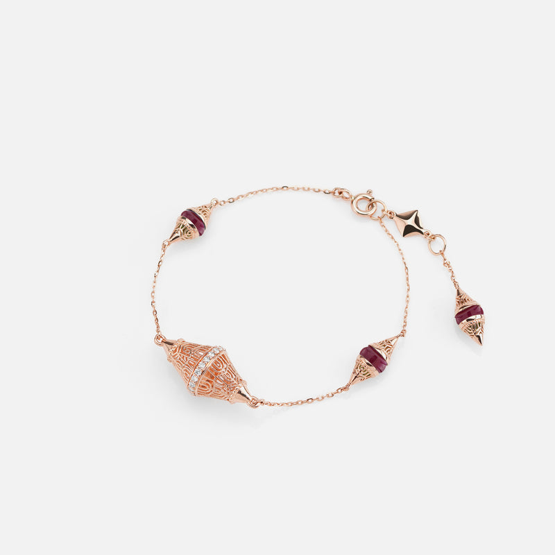 Al Merriyah mood colour bracelet in 18k rose gold with ruby and diamonds - Al Zain Jewellery