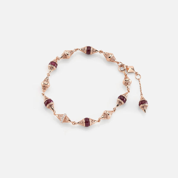 Al Merriyah mood colour bracelet in rose gold with ruby stones diamonds
