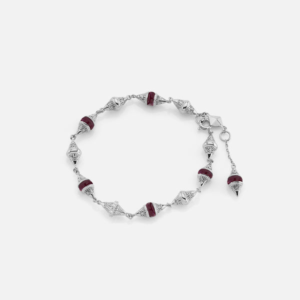 Al Merriyah mood colour bracelet in 18k white gold with ruby and diamonds