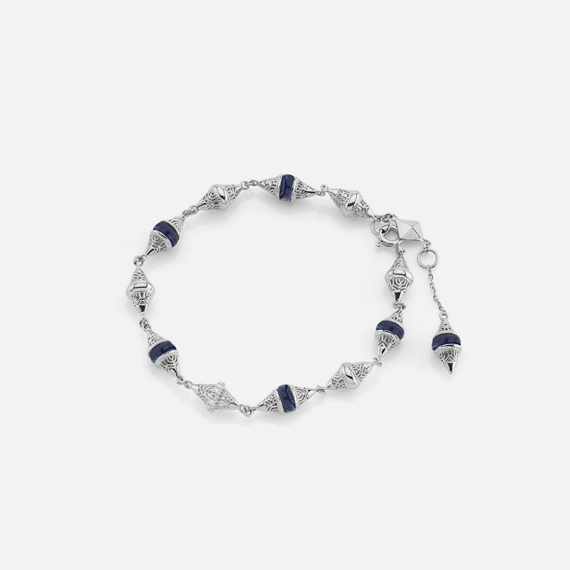 Al Merriyah mood colour bracelet in 18k white gold with sapphire and diamonds - Al Zain Jewellery