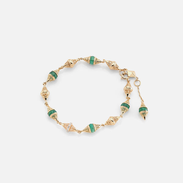 Al Merriyah mood colour bracelet in 18k yellow gold with emerald and diamonds