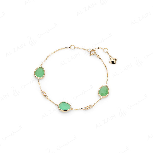 Simply Nina bracelet in 18k yellow gold with Chrysoprase stones and diamonds