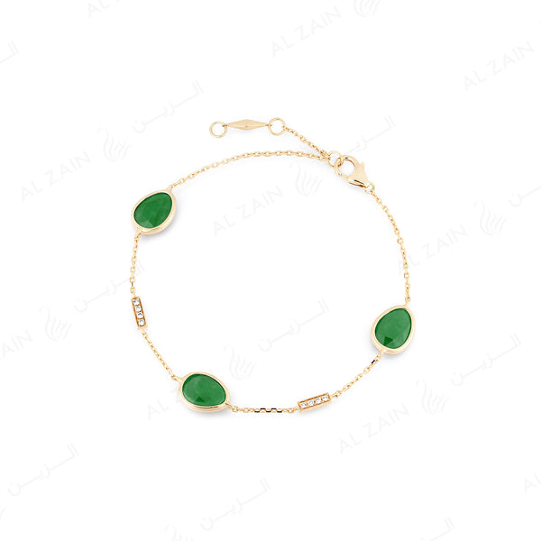 Precious Nina Bracelet in 18k yellow gold with Emerald stones and diamonds
