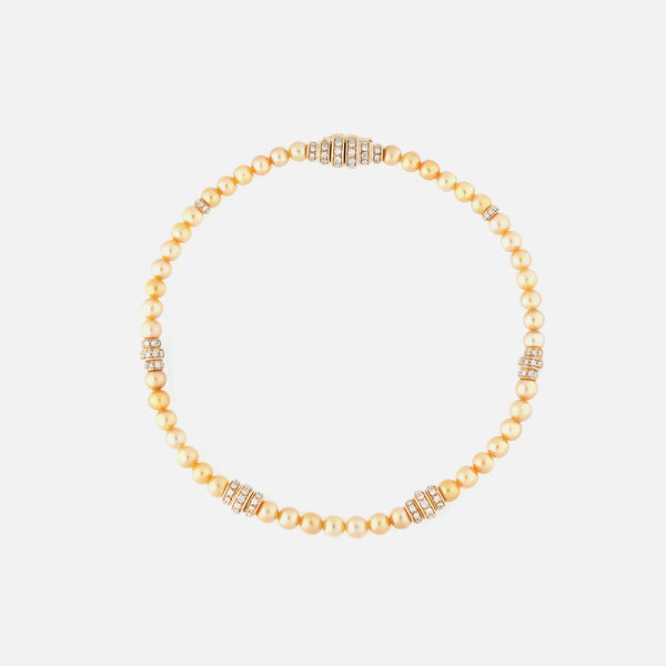 Arab deco bracelet in yellow gold and yellow pearls with diamonds - Al Zain Jewellery