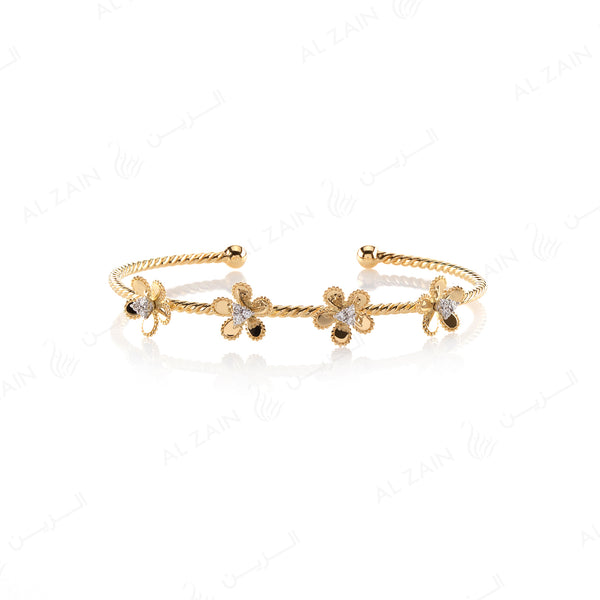 Blomme Bangle in Yellow Gold with Diamonds - Al Zain Jewellery