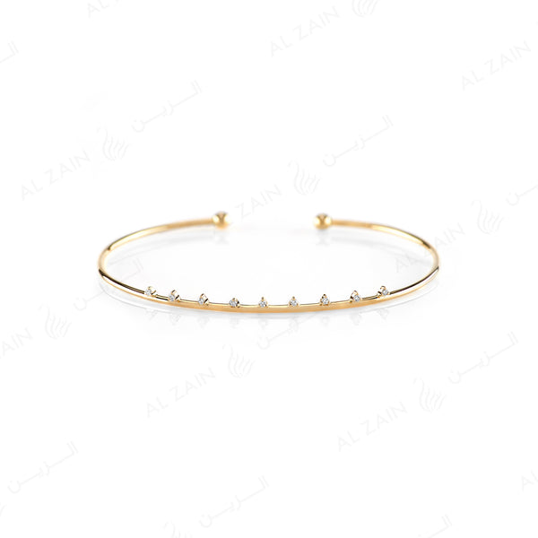 Melati Halo Bangle in Yellow Gold with Diamonds - Al Zain Jewellery