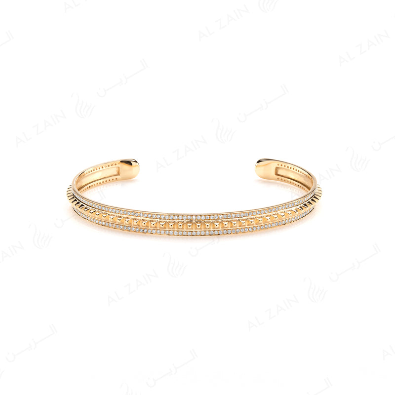 Hab El Hayl Bangle in Yellow Gold with Diamonds - Al Zain Jewellery