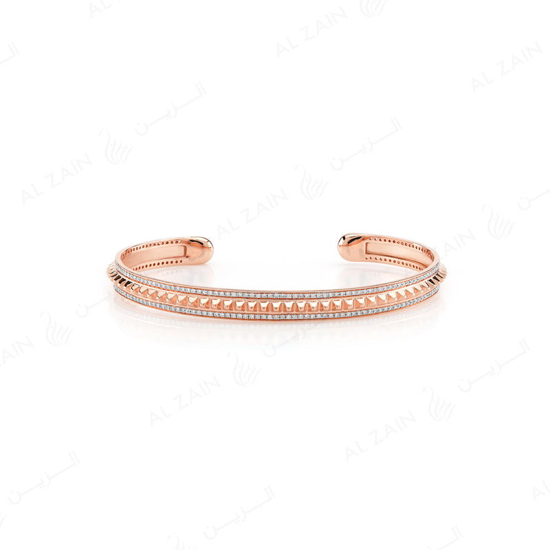 Hab El Hayl 2nd Edition Bangle in Rose Gold with Diamonds - Al Zain Jewellery