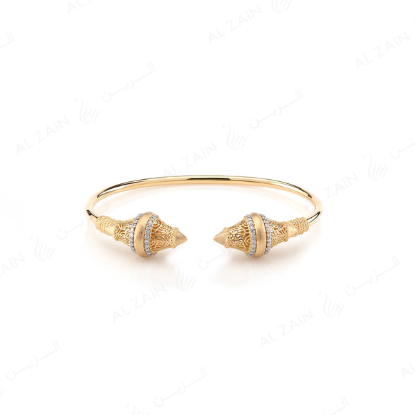 Al Merriyah Bangle in Yellow Gold with Diamonds - Al Zain Jewellery
