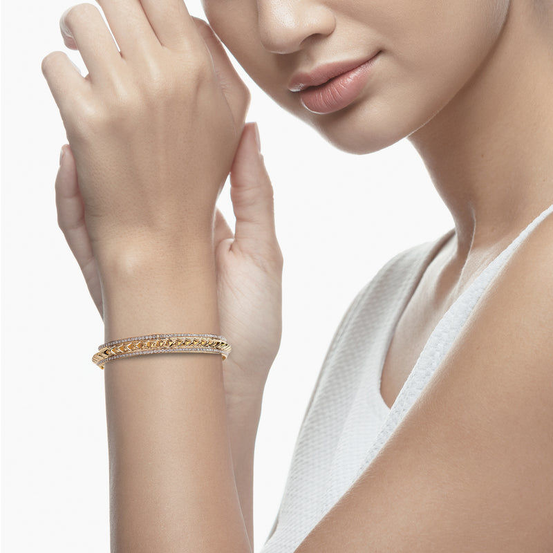 Hab El Hayl 2nd Edition Bangle in Yellow Gold with Diamonds - Al Zain Jewellery