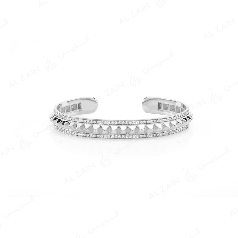 Hab El Hayl 2nd Edition Bangle in White Gold with Diamonds - Al Zain Jewellery