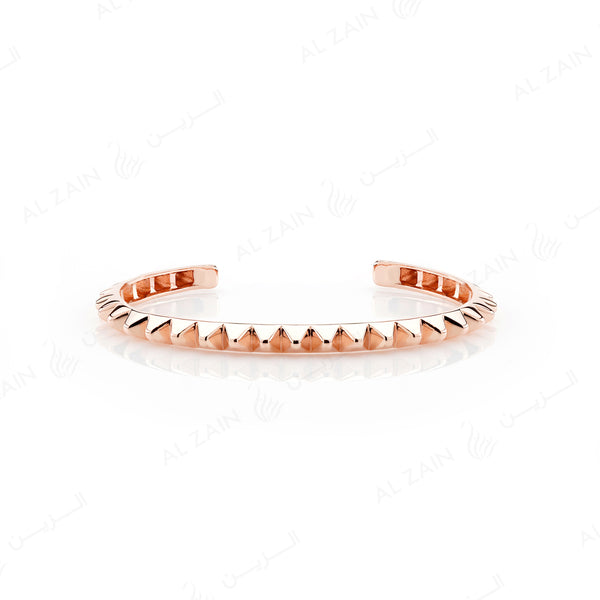 Hab El Hayl 2nd Edition Bangle in Rose Gold with Diamonds on tip - Al Zain Jewellery