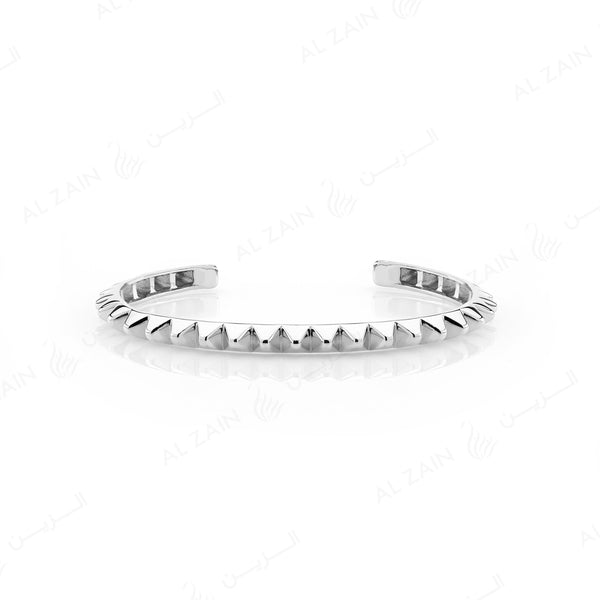 Hab El Hayl 2nd Edition Bangle in White Gold with Diamonds on tip - Al Zain Jewellery