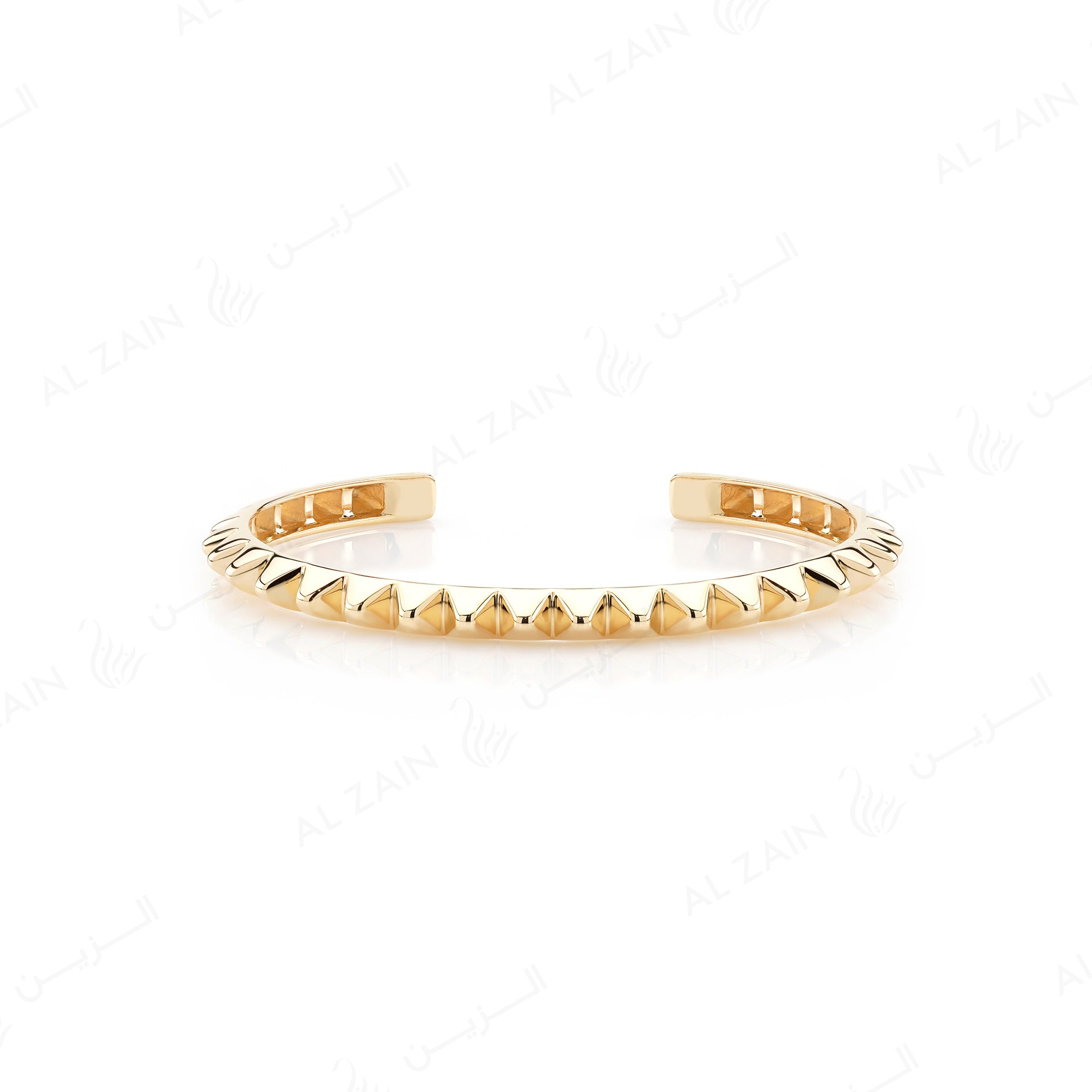 Hab El Hayl 2nd Edition Bangle in Yellow Gold with Diamonds on tip - Al Zain Jewellery