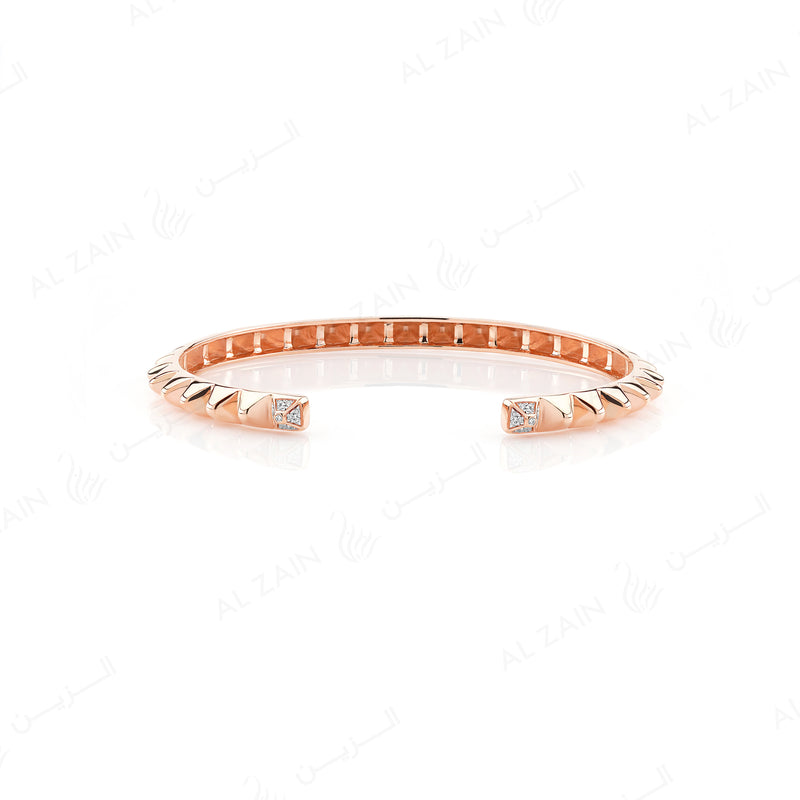Hab El Hayl 2nd Edition Bangle in Rose Gold with Diamonds on tip and middle side - Al Zain Jewellery