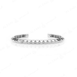 Hab El Hayl 2nd Edition Bangle in White Gold with Diamonds on tip and middle side - Al Zain Jewellery