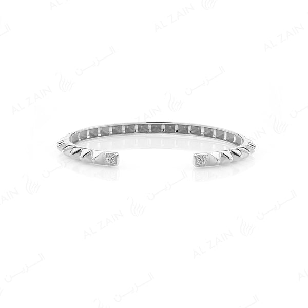 Hab El Hayl 2nd Edition Bangle in White Gold with Diamonds on tip and middle side