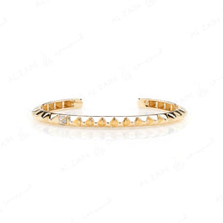 Hab El Hayl 2nd Edition Bangle in Yellow Gold with Diamonds on tip and middle side - Al Zain Jewellery