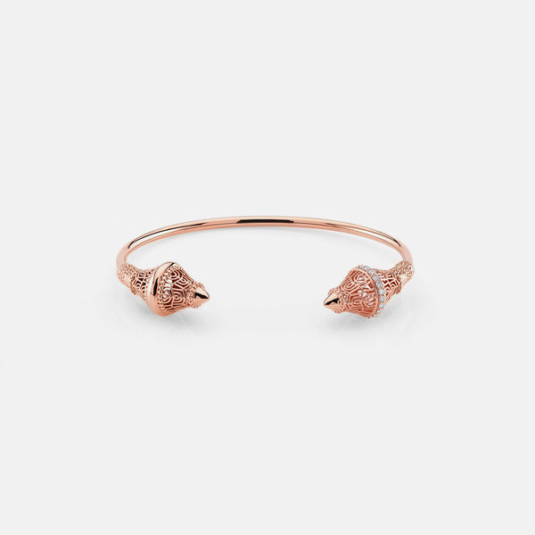 Al Merriyah rosegold edition. Polished finish bangle with diamonds - Al Zain Jewellery