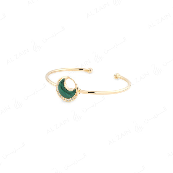 Al Hilal bangle in yellow gold with malachite stone and diamonds - Al Zain Jewellery