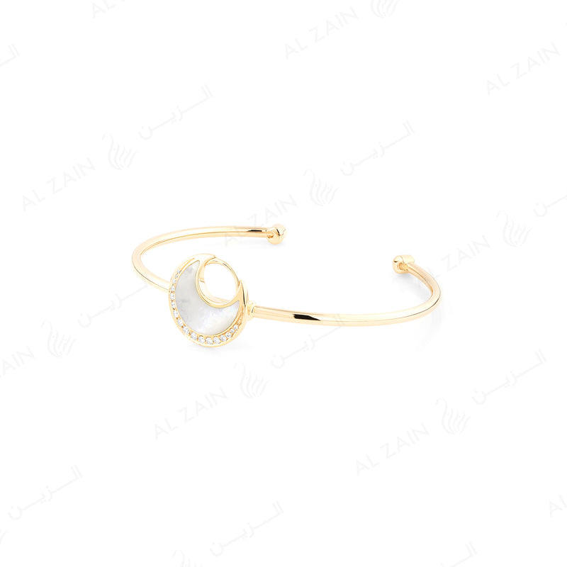 Al Hilal bangle in yellow gold with mother of pearl stone and diamonds - Al Zain Jewellery