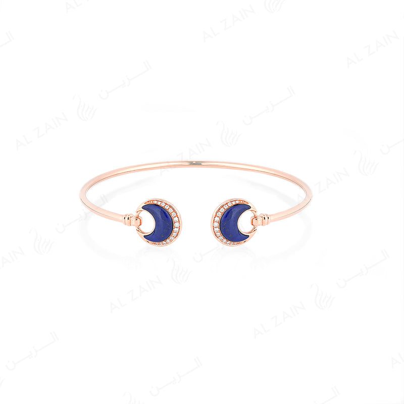 Al Hilal bangle in rose gold with lapis stone and diamonds - Al Zain Jewellery