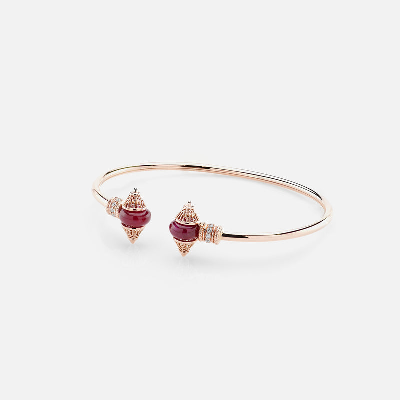 Al Merriyah mood colour bangle in 18k rose gold with ruby and diamonds - Al Zain Jewellery