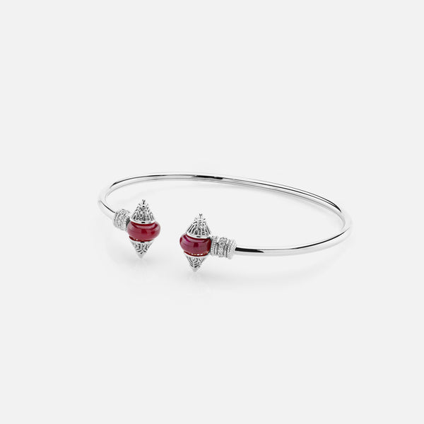 Al Merriyah mood colour bangle in 18k white gold with ruby and diamonds