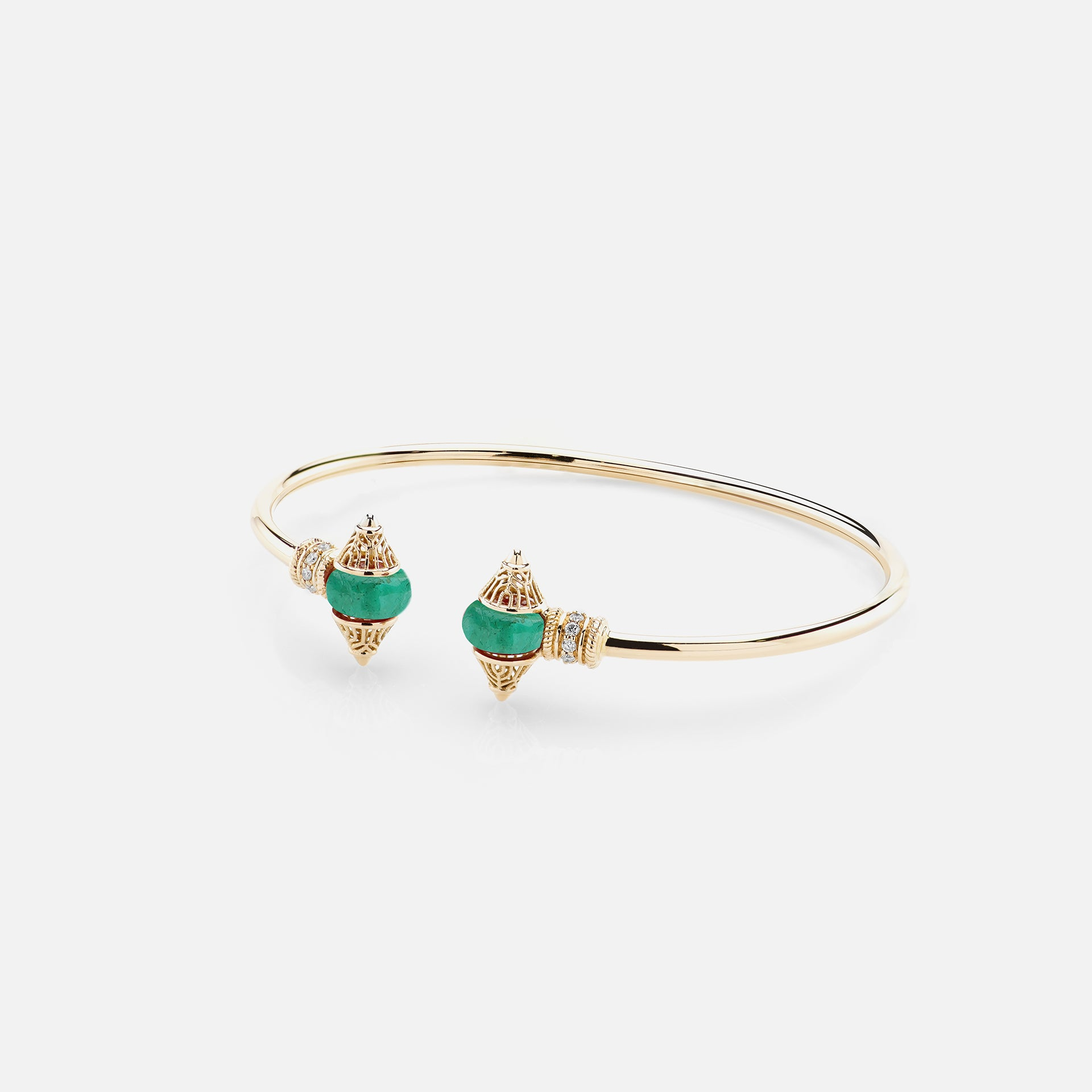 Al Merriyah mood colour bangle in 18k yellow gold with emerald and diamonds - Al Zain Jewellery