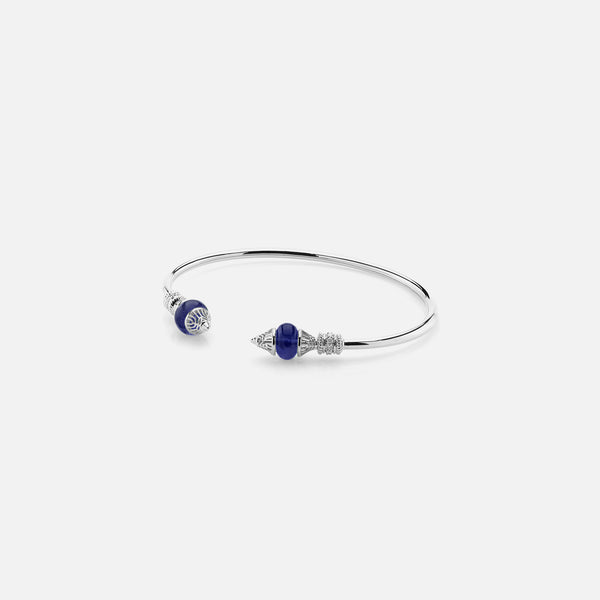 Al Merriyah mood colour bangle in 18k white gold with sapphire and diamonds - Al Zain Jewellery